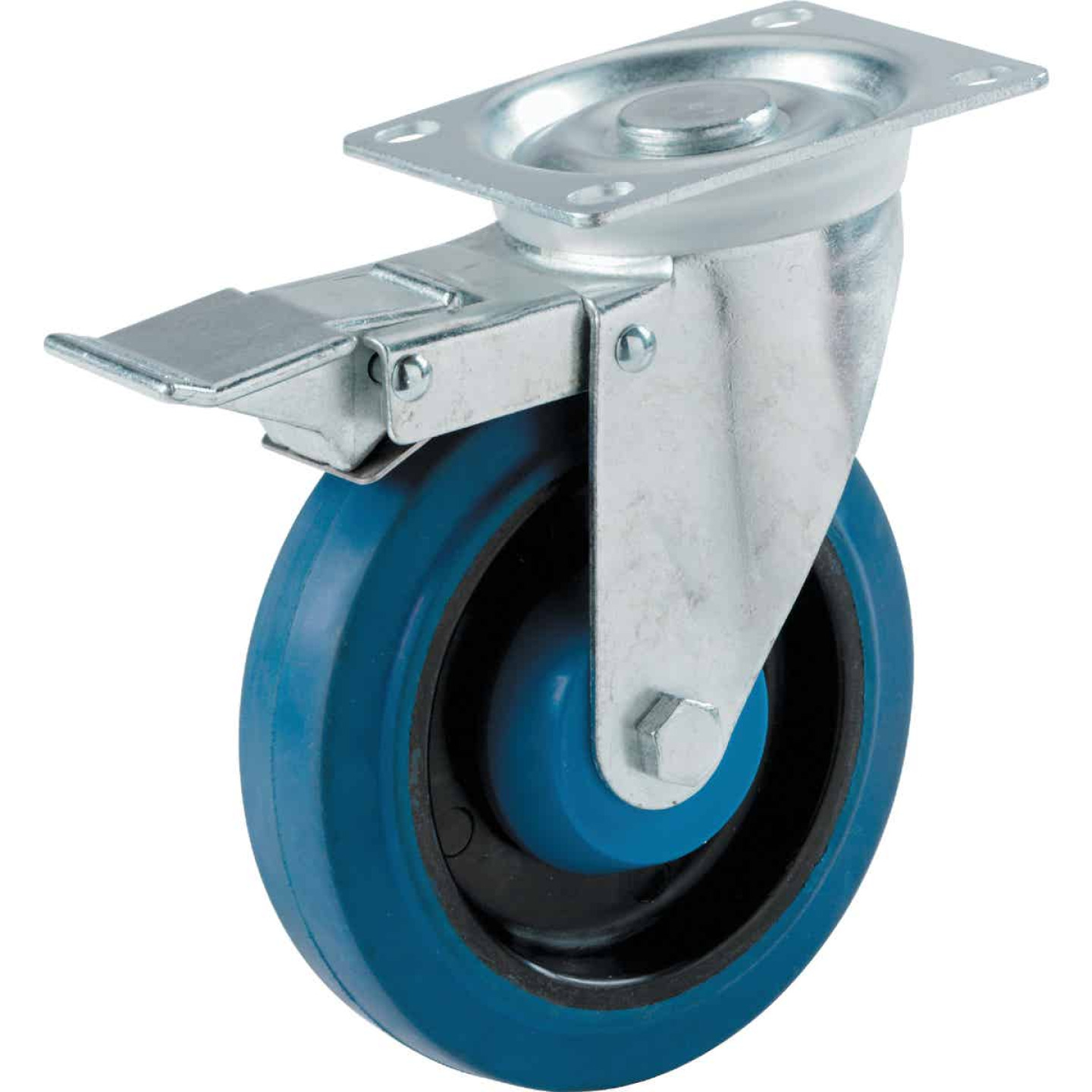 Shepherd 4 In. Elastic Rubber General-Duty Swivel Plate Caster with Brake Image 1