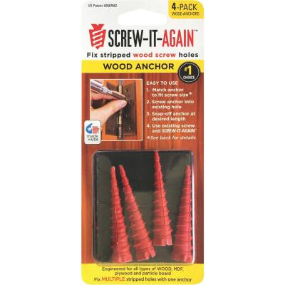 Screw-It-Again #2 to #16 Thread x 2 In. Red Plastic Wood Anchor (4 Ct.)