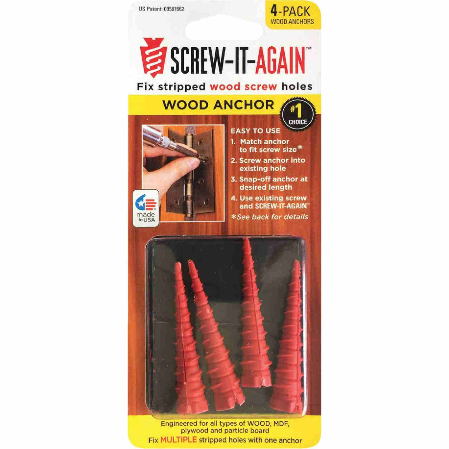 Screw-It-Again #2 to #16 Thread x 2 In. Red Plastic Wood Anchor (4 Ct.) Image 1