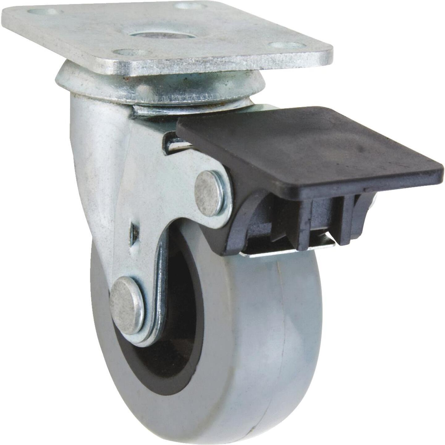 Shepherd 2 In. Thermoplastic Swivel Plate Caster with Brake Image 1