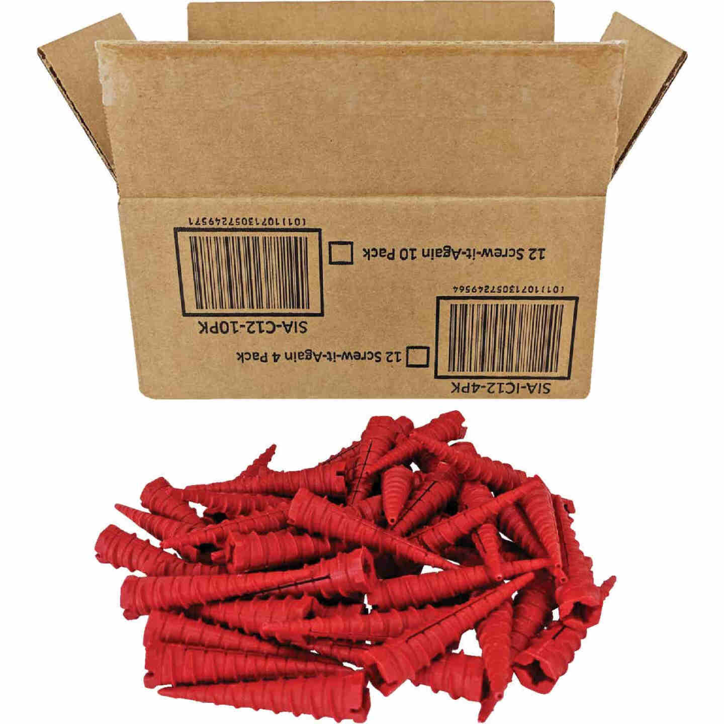 Screw-It-Again #2 to #16 Thread x 2 In. Red Plastic Wood Anchor (50 Ct.) Image 1