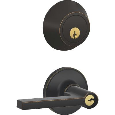 Dexter Solstice Aged Bronze Single Cylinder Deadbolt & Door Lever Combo