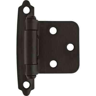 Amerock Functional Hardware Flat Black Self-Closing Face Mount Variable Overlay Hinge (2 Pack)