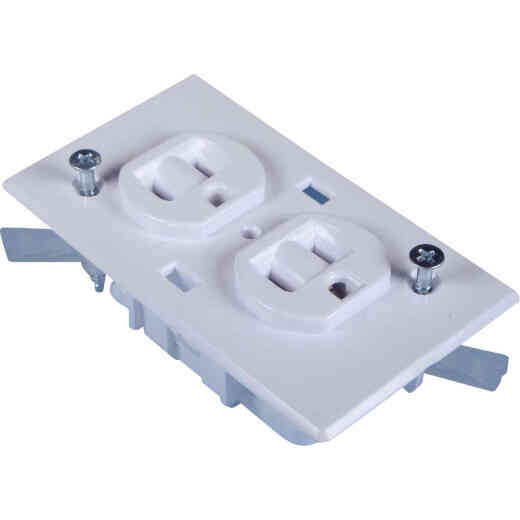 United States Hardware 15A White Conventional Mobile Home 5-15R Duplex Outlet