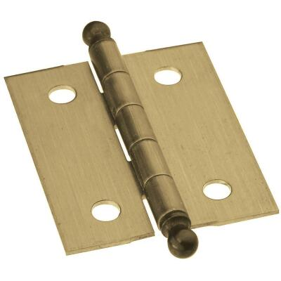 National 1-1/4 In. x 1-1/2 In. Antique Brass Ball Tip Hinge (2-Pack)