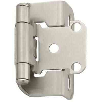 Amerock Satin Nickel Self-Closing Partial Wrap Overlay Hinge (2-Pack)
