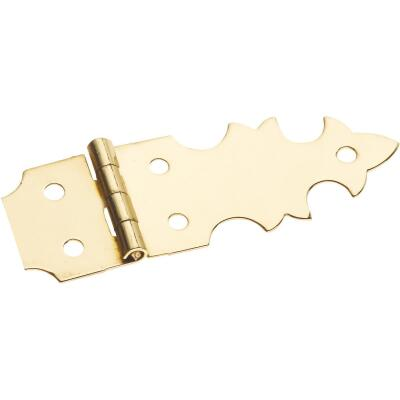 National 5/8 In. x 1-7/8 In. Brass Miniature Decorative Hinge (2-Pack)