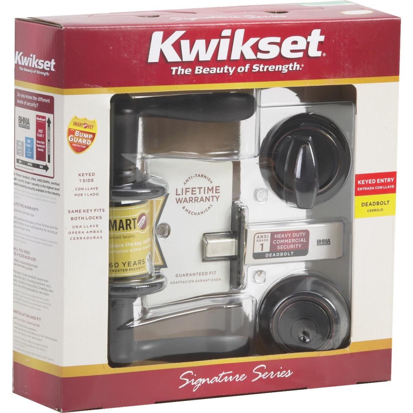 Kwikset Signature Series Venetian Bronze Deadbolt and Lever Combo with Smartkey Image 2