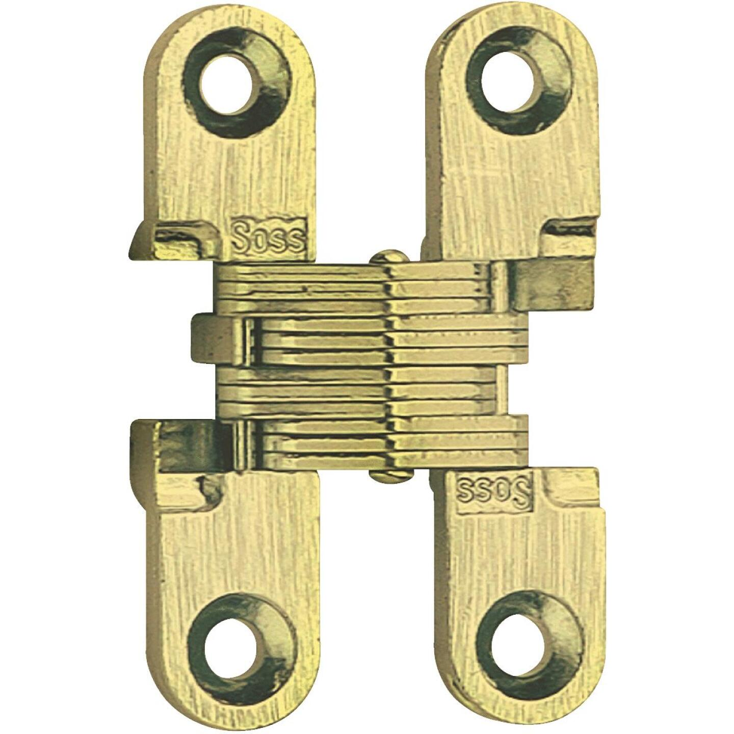 SOSS Satin Brass 1/2 In. x 1-1/2 In. Invisible Hinge, (2-Pack) Image 1