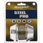 Steel Pro Satin Chrome Single Cylinder Deadbolt Image 2