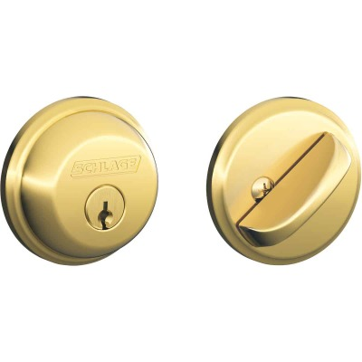 Schlage Bright Brass Maximum Security Single Cylinder Deadbolt
