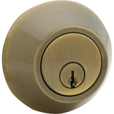 Steel Pro Antique Brass Single Cylinder Deadbolt