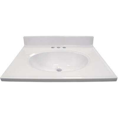 Modular Vanity Tops 25 In. W x 19 In. D Solid White Cultured Marble Non-Drip Edge Vanity Top with Oval Bowl