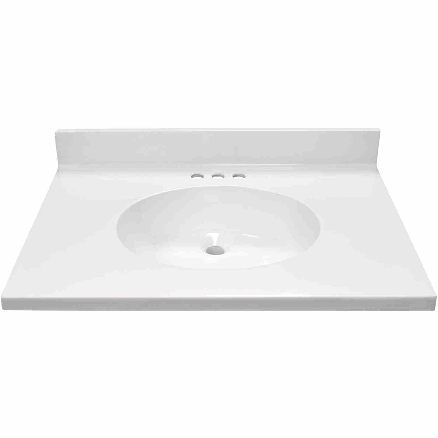 Modular Vanity Tops 31 In. W x 22 In. D Solid White Cultured Marble Flat Edge Vanity Top with Oval Bowl Image 2