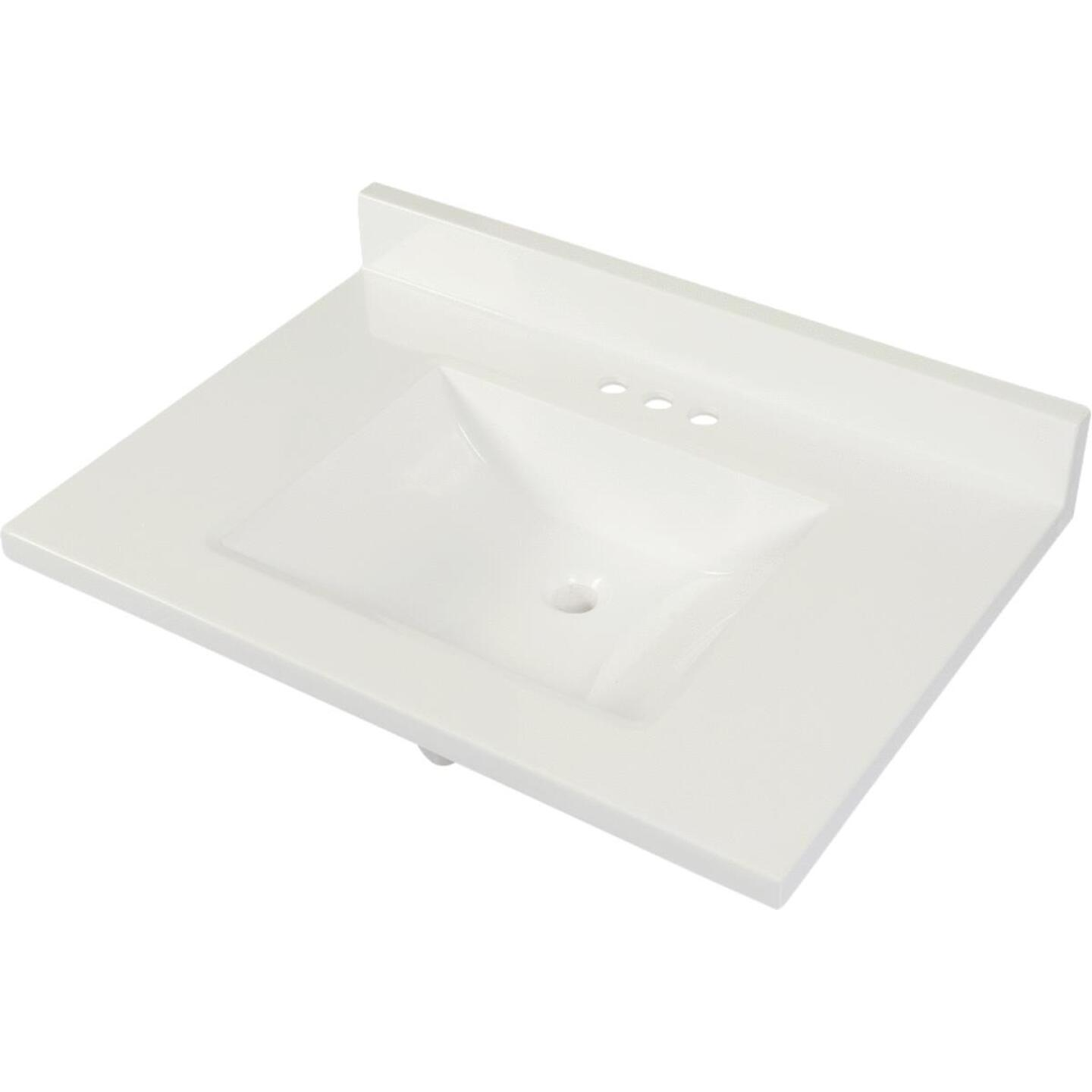 Modular Vanity Tops 31 In. W x 22 In. D Solid White Cultured Marble Vanity Top with Rectangular Wave Bowl Image 1
