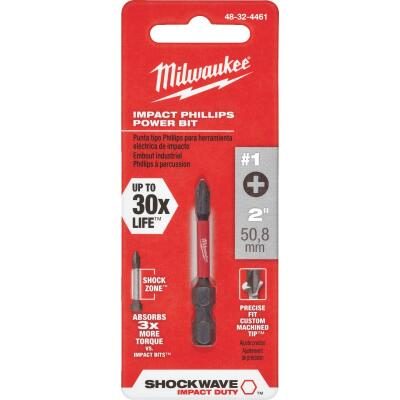 Milwaukee Shockwave #1 Phillips 2 In. Power Impact Screwdriver Bit