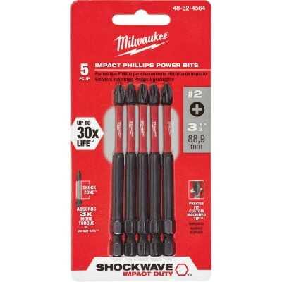 Milwaukee Shockwave #2 Phillips 3-1/2 In. Power Impact Screwdriver Bit (5-Pack)