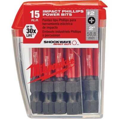 Milwaukee Shockwave #2 Phillips 2 In. Power Impact Screwdriver Bit (15-Pack)