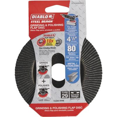 Diablo Steel Demon 4-1/2 In. x 7/8 In. 80-Grit Type 29 Angle Grinder Flap Disc
