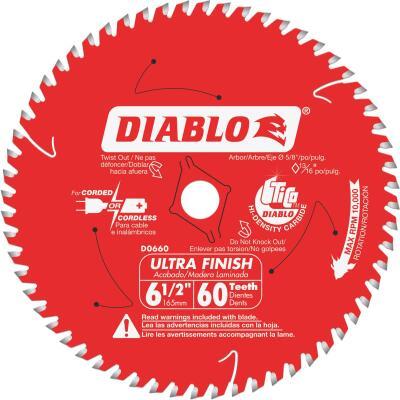 Diablo 6-1/2 In. 60-Tooth Ultra Finish Circular Saw Blade