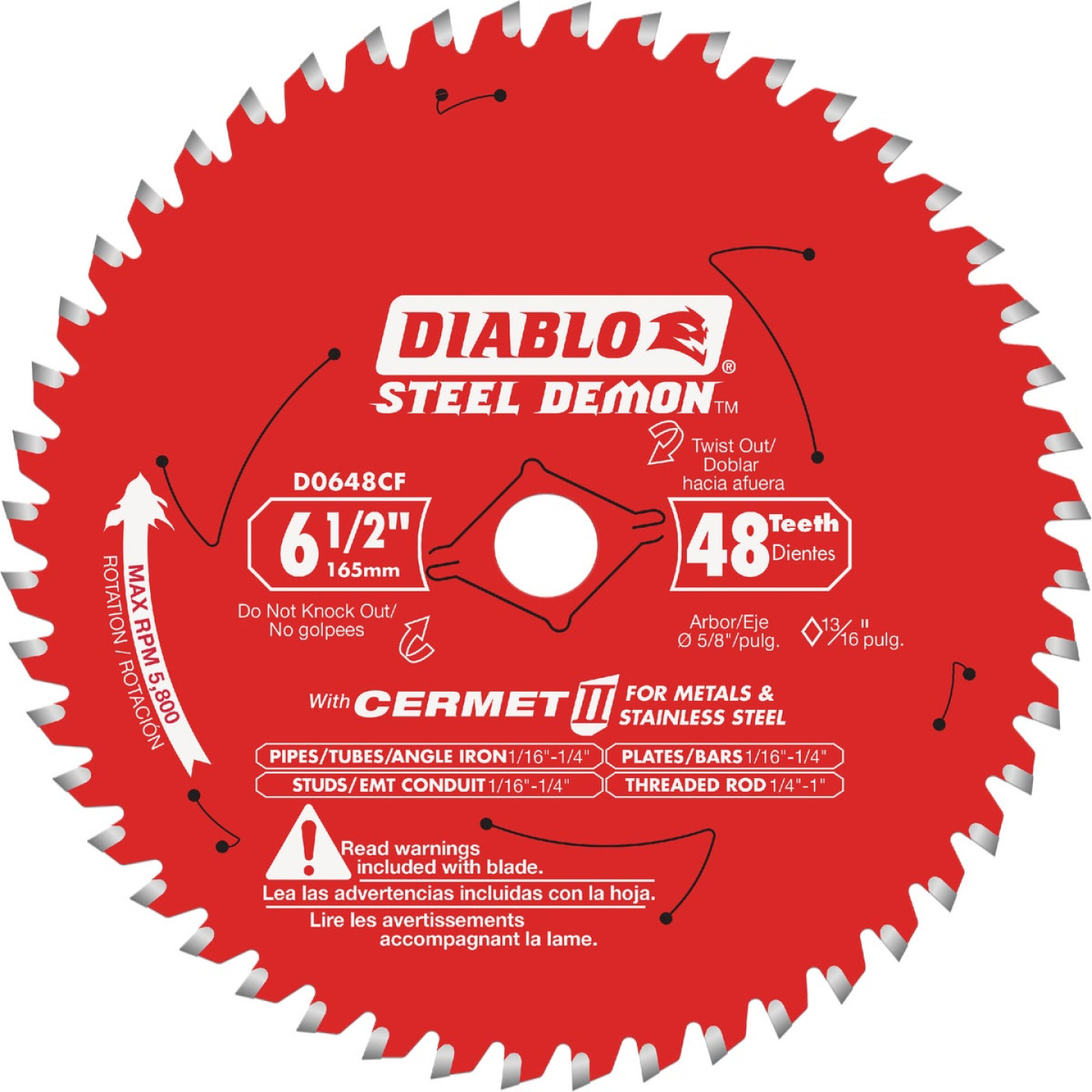 Diablo Steel Demon 6-1/2 in. x 48 Tooth Cermett II Carbide Metals and Stainless Steel Cutting Saw Blade, Bulk Image 1