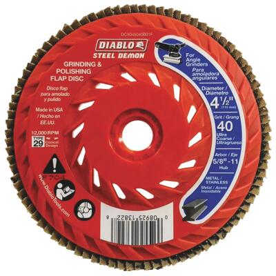 Diablo Steel Demon 4-1/2 In. x 5/8 In.-11 40-Grit Type 29 Angle Grinder Flap Disc with Hub