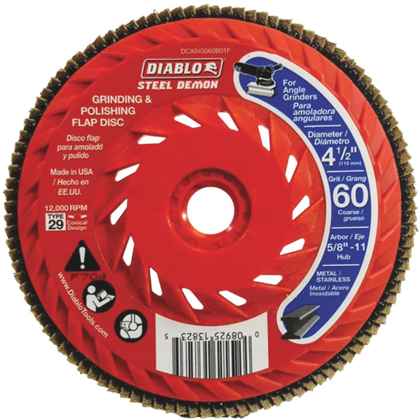 Diablo Steel Demon 4-1/2 In. x 5/8 In.-11 60-Grit Type 29 Angle Grinder Flap Disc with Hub Image 1