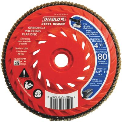 Diablo Steel Demon 4-1/2 In. x 5/8 In.-11 80-Grit Type 29 Angle Grinder Flap Disc with Hub
