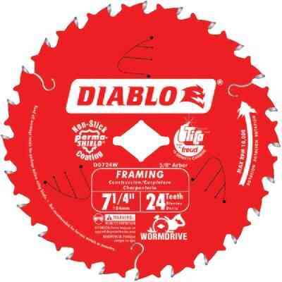 Diablo 7-1/4 In. 24-Tooth Framing Worm Drive Circular Saw Blade, Bulk