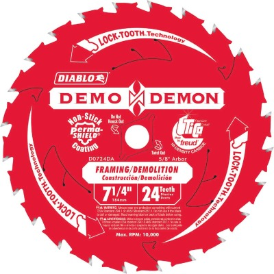 Diablo Demo Demon 7-1/4 In. 24-Tooth Framing/Demolition Circular Saw Blade