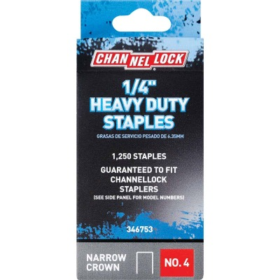 Channellock No. 4 Heavy-Duty Narrow Crown Staple, 1/4 In. (1250-Pack)