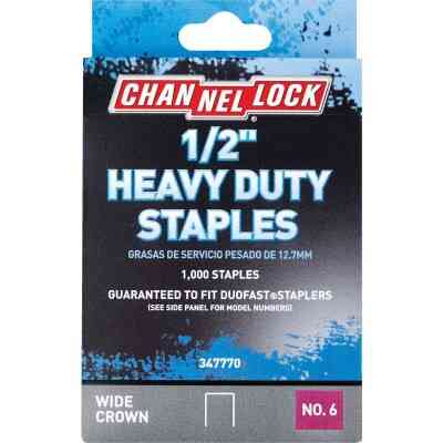 Channellock No. 6 Heavy-Duty Wide Crown Staple, 1/2 In. (1000-Pack)