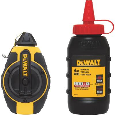 DeWalt 100 Ft. Chalk Line Reel and Chalk, Red