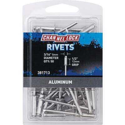 Channellock 3/16 In. Dia. x 1/2 In. Grip Aluminum Multigrip POP Rivet (50-Pack)