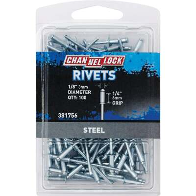 Channellock 1/8 In. Dia. x 1/4 In. Grip Steel Multigrip POP Rivet (100-Pack)