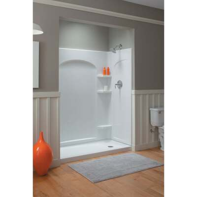 Sterling Ensemble 31-1/4 In. W x 72-1/2 In. H x 1-1/4 In D Curved Shower End Wall Set in White