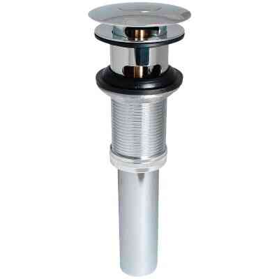 Keeney 1-1/4 In. Chrome-Plated Brass Universal Push Button Bathroom Sink Drain with Overflow
