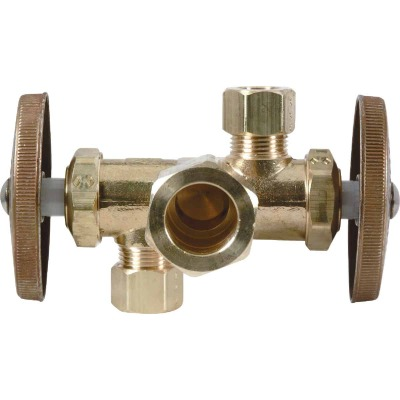 BrassCraft 5/8 In. C X 3/8 In. OD X 1/4 In. OD Rough Brass Dual Outlet Valve