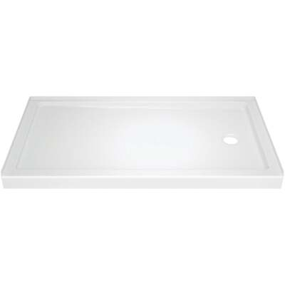 Delta Classic 400 60 In. L x 32 In. D Right Drain Shower Floor & Base in White