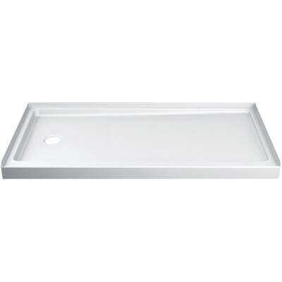 Delta Hycroft 60 In. W x 30 In. D Left Drain Shower Floor & Base in White