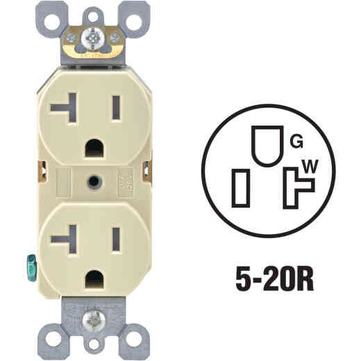 Leviton 20A Ivory Tamper Resistant Residential Grade 5-20R Duplex Outlet