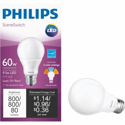 Philips SceneSwitch 60W Equivalent Daylight/Soft White/Warm Glow A19 Medium LED Light Bulb