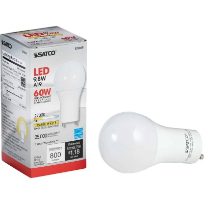Satco 60W Equivalent Warm White A19 GU24 LED Light Bulb