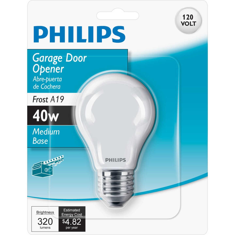 Philips 40W Frosted Medium A19 Incandescent Garage Door Opener Light Bulb Image 1