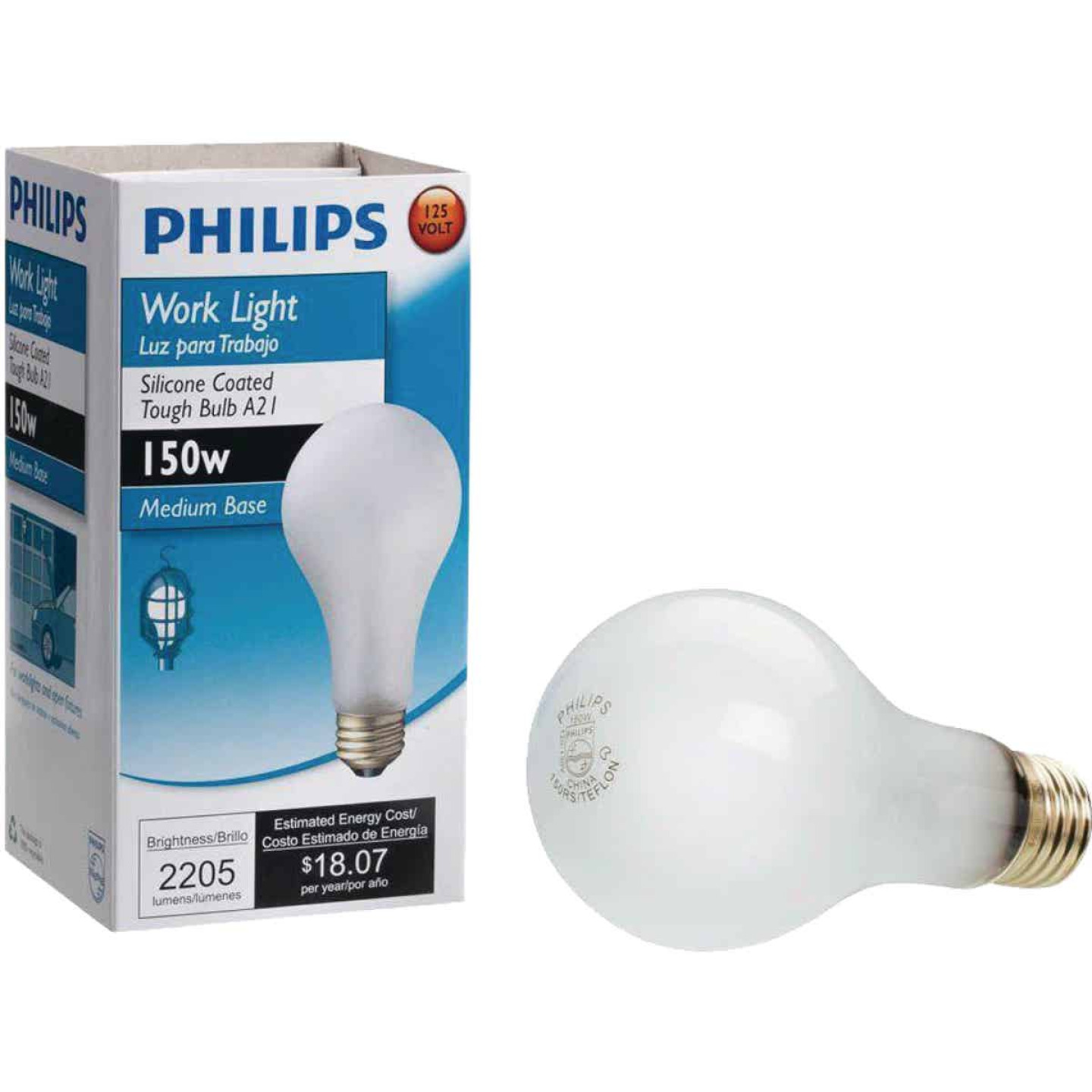 Philips 150W Frosted Medium Soft White A21 Incandescent Rough Service Light Bulb Image 1