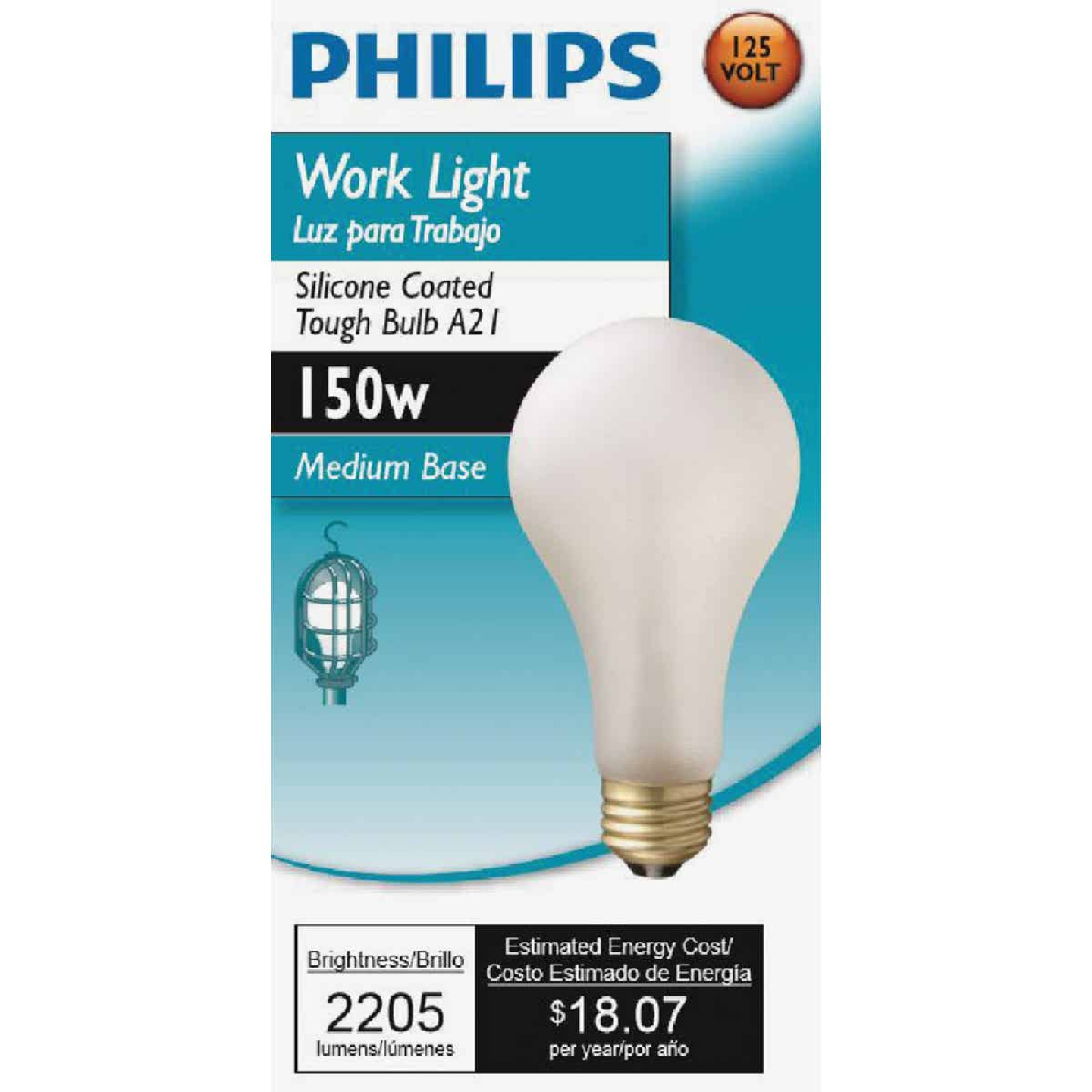 Philips 150W Frosted Medium Soft White A21 Incandescent Rough Service Light Bulb Image 2