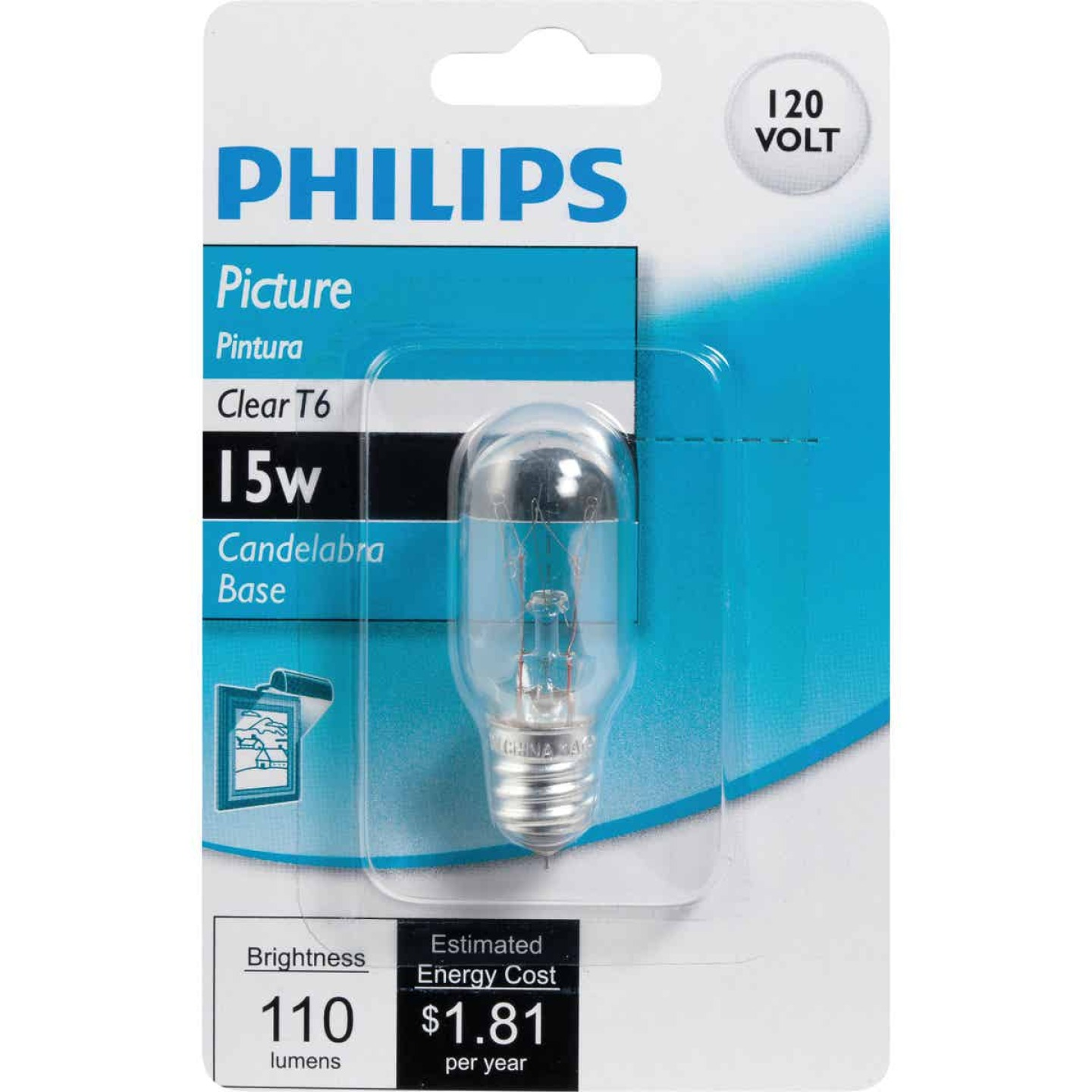 Philips 15W Clear Candelabra T6 Incandescent Exit Sign Light Bulb Image 2