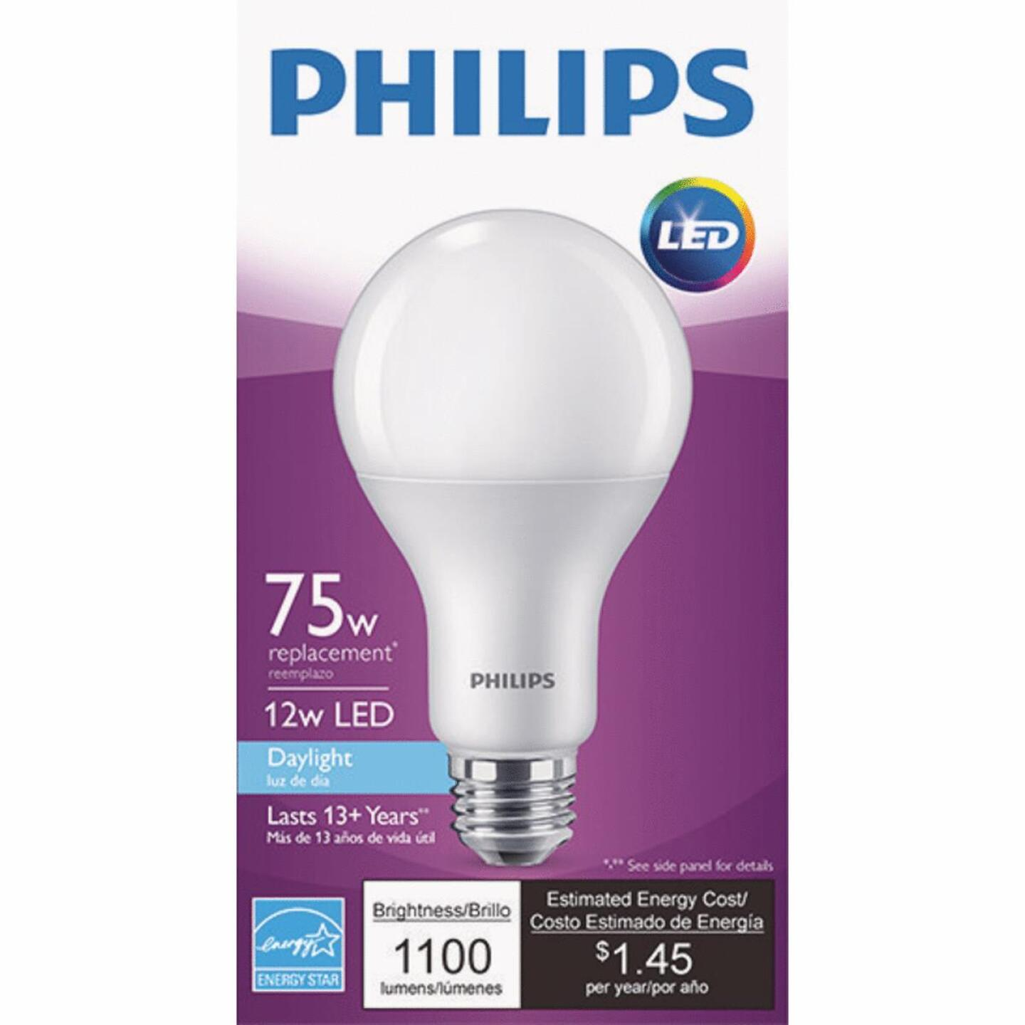 Philips 75W Equivalent Daylight A19 Medium Dimmable LED Light Bulb Image 2