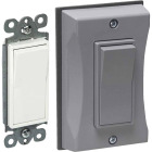 Bell Single Gang Vertical Mount Gray Weatherproof Outdoor Rocker Switch Cover with Switch Image 1