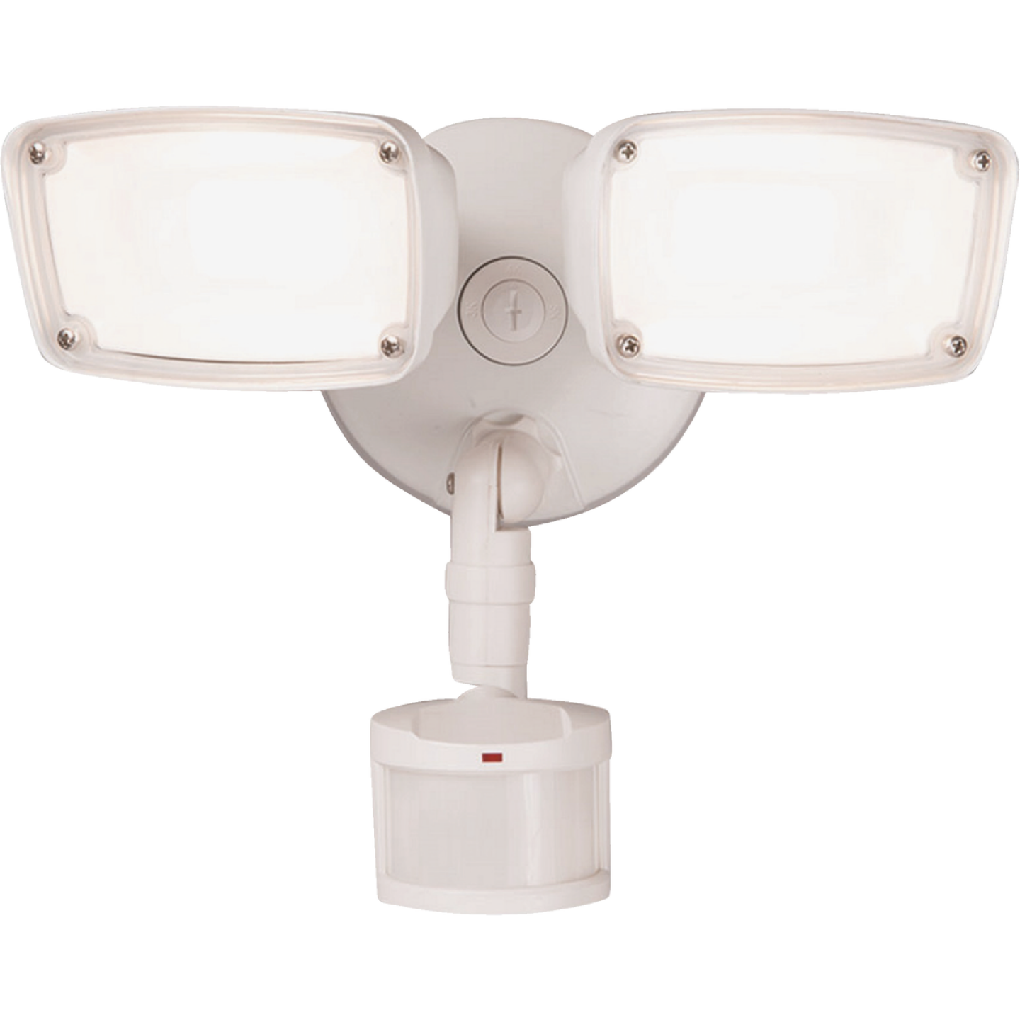 Halo White Motion Sensing LED Twin Head Floodlight Fixture Image 1